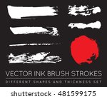 set of vector black pen ink... | Shutterstock .eps vector #481599175