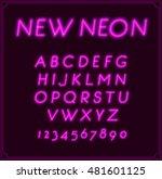 neon italic font type alphabet. ... | Shutterstock .eps vector #481601125