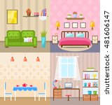 illustration set room interiors ... | Shutterstock .eps vector #481606147