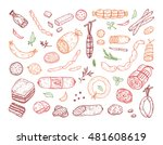 food. sausages set. hand drawn... | Shutterstock .eps vector #481608619