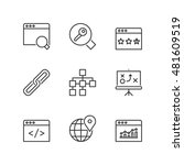 thin line icons set about seo.... | Shutterstock .eps vector #481609519