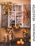 autumn decorated patio. vintage ... | Shutterstock . vector #481610704
