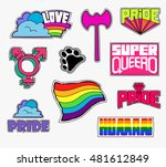 a set of quirky cartoon patch... | Shutterstock .eps vector #481612849
