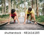 fitness couple ready for... | Shutterstock . vector #481616185