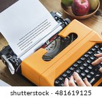 senior man typing typewriter... | Shutterstock . vector #481619125