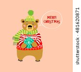 bear in red knitted sweater.... | Shutterstock .eps vector #481620871