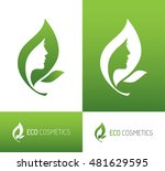abstract green leaf icon with... | Shutterstock .eps vector #481629595