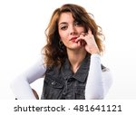 model woman in studio | Shutterstock . vector #481641121