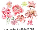 Watercolor Set With Flowers Of...