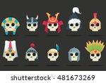 vector set of a various skulls... | Shutterstock .eps vector #481673269
