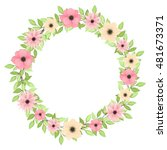 vector wreath with light green... | Shutterstock .eps vector #481673371