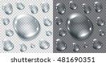 set of transparent gray drops...   Shutterstock .eps vector #481690351