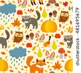 vector seamless pattern. autumn ... | Shutterstock .eps vector #481695679