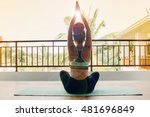 young woman practicing yoga at... | Shutterstock . vector #481696849
