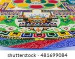 sand mandala on blue background.... | Shutterstock . vector #481699084