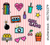 Set of fashion patches and badges. Modern slogans. Rainbow effect. Girl gang. Milkshake and fries. | Shutterstock vector #481701379