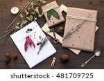 wrapped christmas gifts with... | Shutterstock . vector #481709725