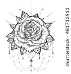 blackwork tattoo flash. rose... | Shutterstock .eps vector #481712911