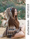 Small photo of Beautiful girl in the image of the American Indian