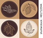 hand drawn cacao beans labels ... | Shutterstock .eps vector #481713544