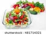vegetable salad and fresh... | Shutterstock . vector #481714321