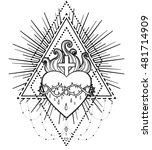 sacred heart of jesus. vector... | Shutterstock .eps vector #481714909