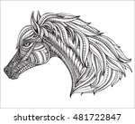 hand drawn head of horse in... | Shutterstock .eps vector #481722847