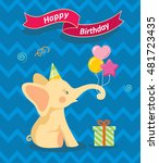 happy birthday card with cute... | Shutterstock .eps vector #481723435