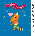 happy birthday card with cute... | Shutterstock .eps vector #481723459