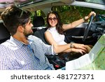 happy young couple with a map... | Shutterstock . vector #481727371