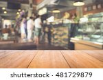 image of wooden table in front... | Shutterstock . vector #481729879