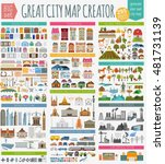 Great city map creator. House constructor. House, cafe, restaurant, shop, infrastructure, industrial, transport, village and countryside element. Make your perfect city. Vector illustration