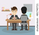businessman job interview. boss ... | Shutterstock .eps vector #481740721