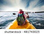 young boy plows through the... | Shutterstock . vector #481743025