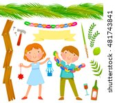 set of sukkot symbols with two...