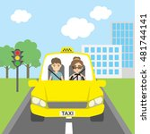 taxi driver with passenger.... | Shutterstock .eps vector #481744141