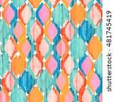 watercolor ikat seamless... | Shutterstock . vector #481745419