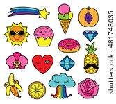 fashion patches. pin badges set.... | Shutterstock .eps vector #481748035
