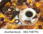 autumn cup of black coffee ... | Shutterstock . vector #481748791