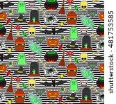 seamless pattern with halloween ...   Shutterstock .eps vector #481753585