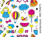 seamless vector pattern with... | Shutterstock .eps vector #481754071
