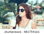woman drinking vegetable... | Shutterstock . vector #481754161