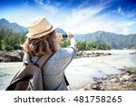 young woman traveler on a... | Shutterstock . vector #481758265