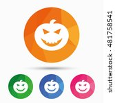 halloween pumpkin sign icon....   Shutterstock .eps vector #481758541