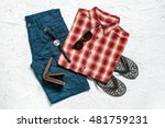 overhead view of men's casual... | Shutterstock . vector #481759231