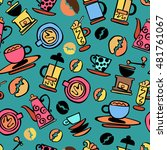 coffee background. coffee. set. ... | Shutterstock .eps vector #481761067