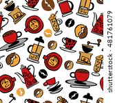 coffee background. coffee. set. ... | Shutterstock .eps vector #481761079