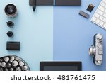 work space on blue table of a... | Shutterstock . vector #481761475