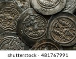 big round silver ancient... | Shutterstock . vector #481767991