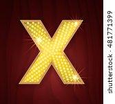 Gold Light Lamp Bulb Letter X....